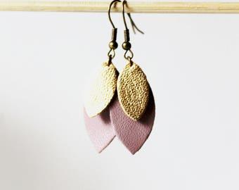 Earring petals Mauve gold leather