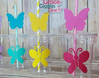 12 Butterfly  Party Cups with lids and  Butterfly Straws!