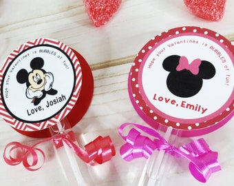 6 Personalized Mickey and Minnie Mouse Bubble Valentine's Day Favors