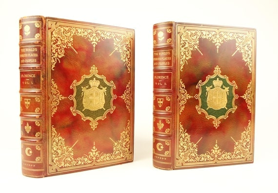 ca. 1900 Florence (Italy), limited to 26 (lettered) copies, elaborate beautiful bindings, pochoir (hand-coloured) plates