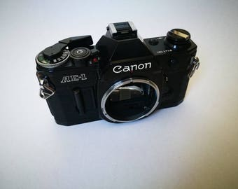 Black Canon AE-1 with New Light Seals. Vintage Ready-To-Use 1980s SLR Camera Body