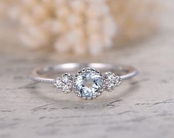 5mm Round Cut Aquamarine Engagement Ring VS Natural Aquamarine Ring 14K  White Gold Engagement Ring DecoAquamarine engagement ring   Etsy. Engagement Ring Vs Wedding Ring. Home Design Ideas