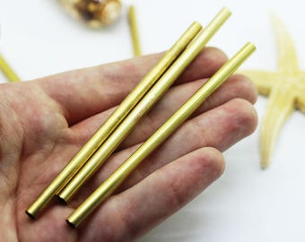 10 Pcs 5x100mm Raw Brass Long Tube Beads, Tubes, Round Tube Beads, Fits 4 mm Cords