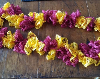 Burgandy and Gold Ruffle Lace Scarf