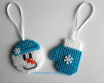 Christmas Ornaments, Tree Ornaments, Snowman Decoration, Blue Mitten with Snowflake, Christmas Tree Ornaments, Plastic Canvas Ornaments