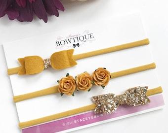 Mustard Headband Set, Baby Headbands, Flower Headband, Gold Glitter Bow, Baby Shower, Christening Bow, Wedding Headbands