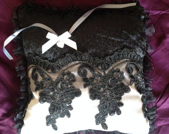 worn cushion alliance black and grey Pearl with lace, Gothic