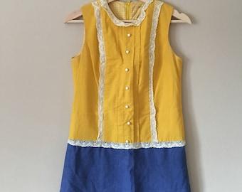 Vintage 60s/70s Denise Hermosa Beach California Yellow Lace Sundress