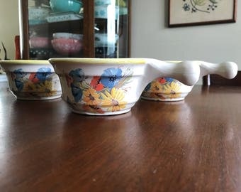 Vintage California Originals Soup Bean Chili Bowls with Handle Pottery Original Calif. Orig. 1036 Blue Yellow Orange Red Flowers Wildflowers