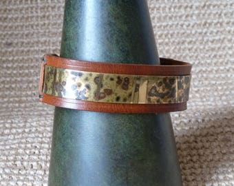 SCKLeather Handmade Patinated Brass Bracelet set in Veg Tan Leather