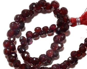 ON SALE 50% Garnet Beads, Micro Faceted Garnet Briolettes, AAA Mozambique Garnet, 4mm To 6mm Beads, Sku-Bb111