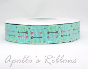 "Aqua Arrow ribbon - tribal ribbon - 7/8 inch wide - 7/8"" inch - US Designer ribbon - bow ribbon - ribbon - USDR - grosgrain ribbon - boho"