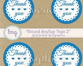 Round Scallop Tags - Royal Blue