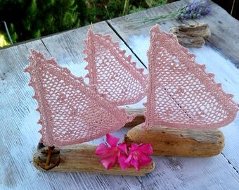 3 Driftwood sailboat pink, Sailboats pink, Sea decor, Coastal decor,set Sailboats crochet, Crochet boats, wedding boats, wedding decor,