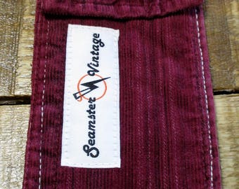 Upcycled Burgundy Corduroy Mini Wallet/Carrier Pouch Handmade from Vintage Fabric-Change/Cover-Retro Sustainable Accessories-