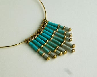 "Elegant necklace ""Softness"" made of blue and grey Nepalese lokta paper"