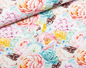 Fabric Jersey flowers and pierce | Per Metre