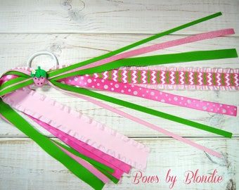 Spring Polymer clay Pink Strawberry Double Ruffle ponytail streamer!