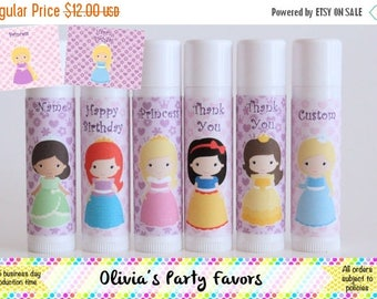 SALE Princess Party Favor - Princess Lip Balm - Set of 6 - Princess Birthday Party - Spa Party Favor - Princess Spa Party - Custom Lip Balm
