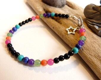 """The 7 chakras"" zen bracelet unisex lava and gemstones."