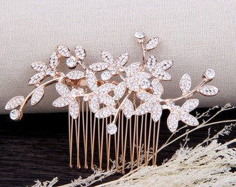 Rose Gold Bridal Hair Comb, Wedding Hair Comb, Wedding Hair Accessories, Leaf Wedding Headpiece, Rose Gold Bridal Hair Pieces For Wedding