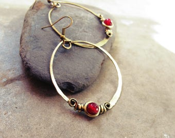 Ethnic hoop earrings - pink raspberry - antiqued - brass