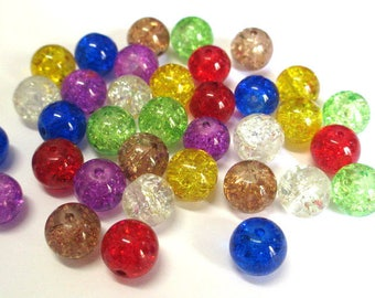 35 Crackle glass beads color mix of 10mm (E-34)