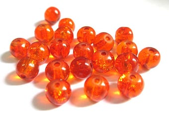 20 beads orange Crackle Glass 6mm (P-14)