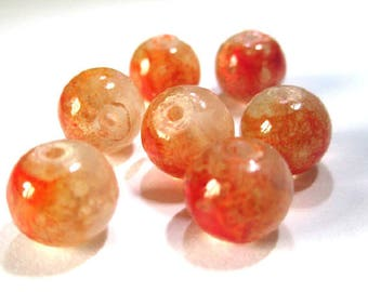 10 beads orange and white speckled clear 8mm