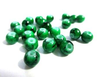 20 dark green speckled Black 4mm beads