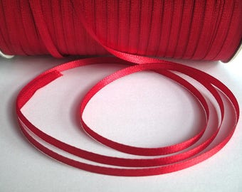 5 m 3mm dark red satin ribbon