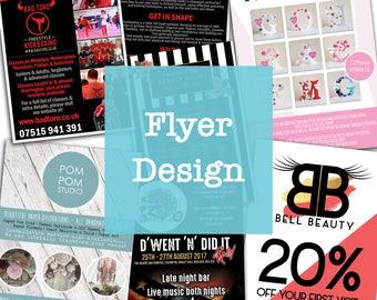 Flyer Design - Digital Design File - Small Business Stationery - Leaflet Design - Poster Design - Double Sided Flyers - Packaging Design