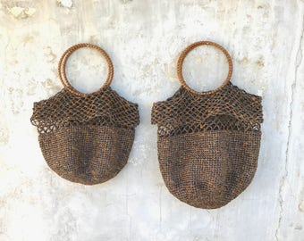FOREST BROWN RAFFIA Bag. Ultra soft straw bag. Handmade woven bag available in two sizes.