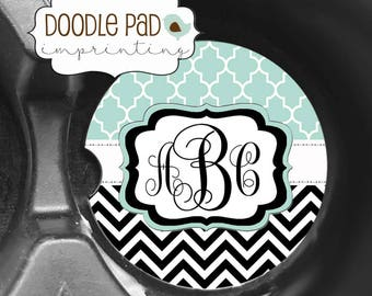 Chevron Car Coaster, Monogram Car Coaster, Personalized Gift