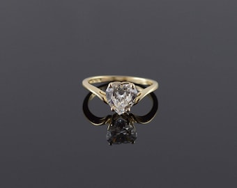 14k 1.75 CT Heart Cut White CZ Solitaire Ring Gold