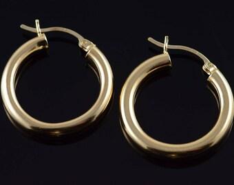 10k Hollow Hoop Tube Earrings Gold