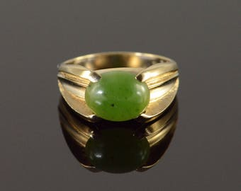 10k 9x8mm Jade Cabochon Ring Gold