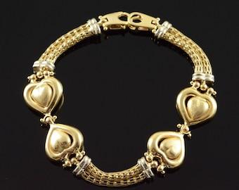 """14k Large Heart Link Two Tone Bracelet Gold 7.5"""""""