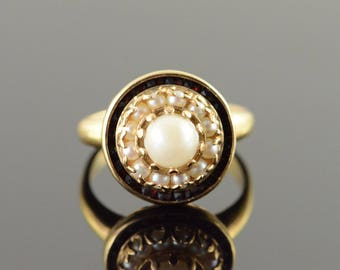 10k 6mm Pearl Seed Pearl & 1.00 CTW Red Garnet Halo Ring Gold