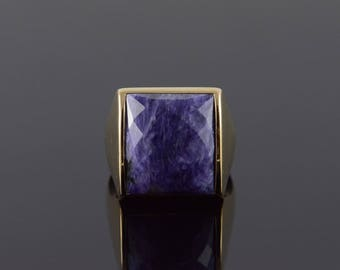 14k 18x15mm Faceted Purple Agate Statement Ring Gold