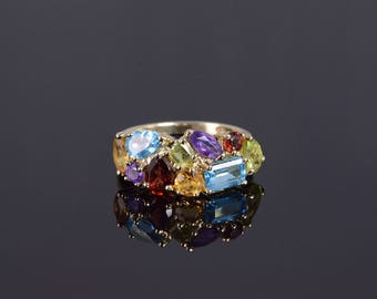 10k Blue Topaz Garnet Citrine Peridot Amethyst Band Ring Gold