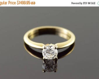 Big SALE 14k 0.74 CT Diamond Solitaire Engagement Ring Gold