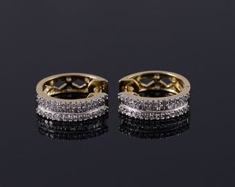 10k 0.45 Ctw Diamond Encrusted Hoop Earrings Gold