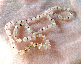 "Necklace,Rose Quartz Nuggets,Gold Beads, 15"" length, Artisan Made,GIft for Women, Gift for Girls, Artist Gift"
