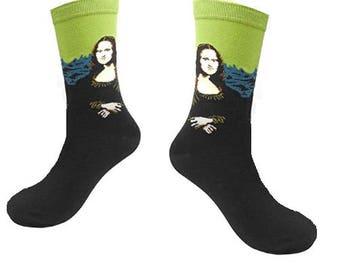 Art Socks Mona Lisa,Art Socks,Fine Art Socks, Gift for Women,Artist,Cool Socks, Holiday Gift