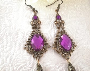Bronze victorian gothic ornate earrings-gothic earrings-earrings-drop earrings