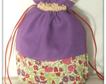 Pouch in purple linen and Liberty Poppy and daisy