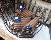 Set of 3 Primitive American Flag Bowl Fillers, Mini Flags, Patriotic, Tucks, Americana Decor, Flag Pin Cushions, Needlekeeps, Small Flags