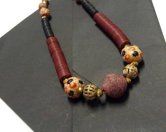Women's Burgundy Vinyl African Krobo Bead Necklace, Brass Baulé Pendant Jewellery