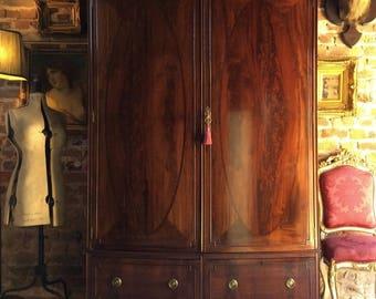 Stunning Antique Edwardian Wardrobe Mahogany Armoire